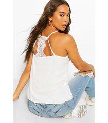 geweven hemdje met kant, wit