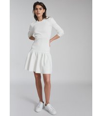 reiss charlotte - knitted ruffle hem dress in white, womens, size xl