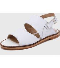 sandalia de cuero blanco katekuba kante