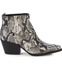 winona croc-embossed leather stack-heel booties