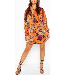 luxe bloemenprint blouse jurk, kaneel