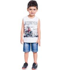 camiseta regata brandili estampada  branco - branco - menino - dafiti