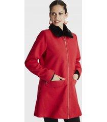 abrigo manga larga y cuello piel rojo lorenzo di pontti