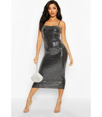sequin dot strappy midaxi dress, silver