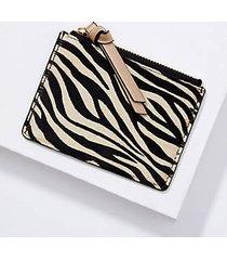 loft tiger print hair calf card case