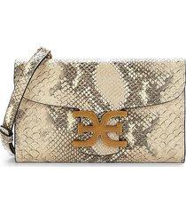 sam edelman women's randi snakeskin-print leather crossbody bag - wheat multi