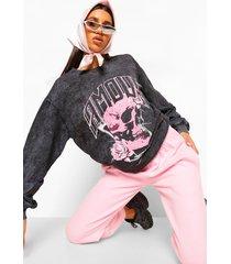 acid wash gebleekte amour skull boyfriend sweater, charcoal