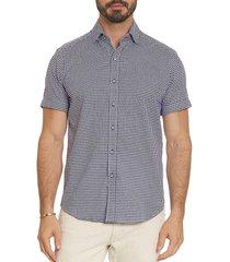 robert graham men's howells tailored-fit houndstooth shirt - navy - size l