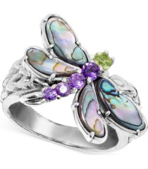 multi-gemstone dragonfly ring (2-1/5 ct. t.w.) in sterling silver
