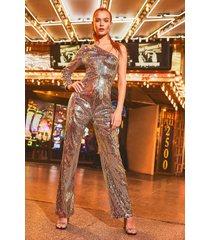 one shoulder sequin wide leg jumpsuits, silver