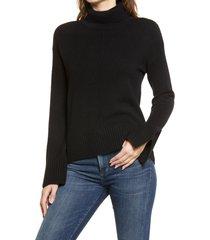 women's nordstrom raised seam turtleneck sweater, size x-small - black