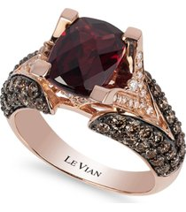 le vian raspberry rhodolite garnet (3 ct. t.w.), chocolate diamonds (1-1/5 ct. t.w.) and white diamond accent ring in 14k rose gold