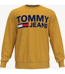 tommy hilfiger men's bold logo sweatshirt golden lotus - l