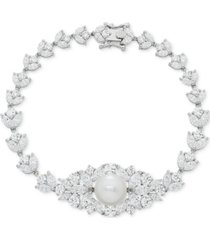 cultured freshwater pearl (10mm) & swarovski zirconia orbital link bracelet in sterling silver