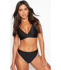 mix & match plunge bikini top, black