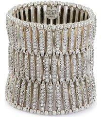 'almond' swarovski crystal three row elastic bracelet