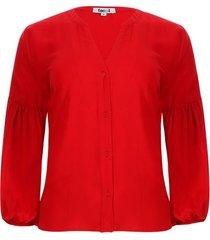 blusa manga recogido color rojo, talla 10