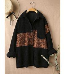 camicetta di velluto a coste patchwork a maniche lunghe stampata leopardata per donna