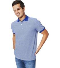 camiseta tipo polo tela jersey a rayas para hombre color siete - azul