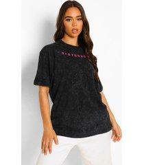 oversized acid wash gebleekt sisterhood t-shirt, charcoal