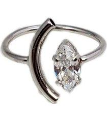 anel papillô joias ajustável meia lua, em ródio branco