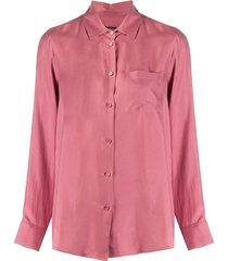 weekend max mara long-sleeved silk shirt - pink