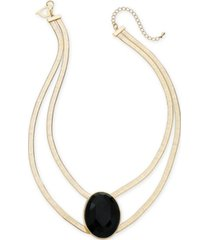 "thalia sodi gold-tone large stone double strand statement necklace, 16"" + 3"" extender, created for macy's"