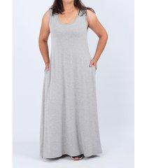 vestido gris minari maxi bolsillos plus size