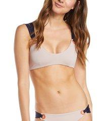 women's tavik stella strappy bikini top, size large - beige