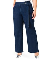 plus size women's standards & practices zahra belted denim pants