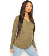 positiekleding. gebreide trui met wikkelstijl voorkant voor borstvoeding, kaki