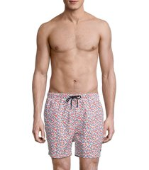 solid and striped men's the classic geometric-print swim trunks - red blue - size m