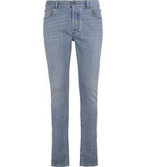 balmain regular logo patched jeans