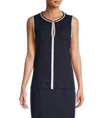 tommy hilfiger women's front-keyhole sleeveless top - midnight ivory - size m