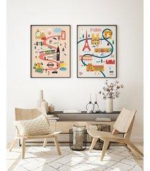 zestaw ilustrowanych plakatów - miasta