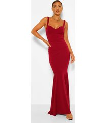 fitted fishtail maxi bridesmaid dress, berry