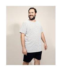 pijama de piquet masculino plus size com listras manga curta branco