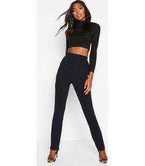 tall skinny crêpe broek met zakken, marineblauw