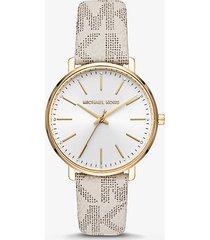 mk orologio pyper tonalità oro con logo - vaniglia (naturale) - michael kors