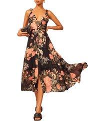 women's reformation jaden floral print tiered midi dress
