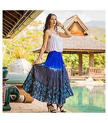 batik cotton skirt, 'festive summer in royal blue' (thailand)