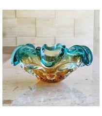 centro de mesa de murano sáo marcos - verde esmeralda com âmbar