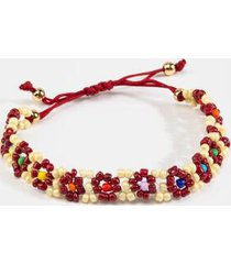 milly beaded flower pull tie bracelet - wine