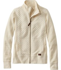 women's l.l.bean quilted sweatshirt jacket, size x-small - ivory