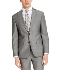 dkny men's slim-fit stretch light gray tic suit jacket