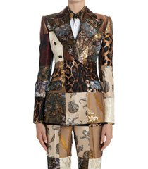 women's dolce & gabbana brocade & jacquard patchwork double breasted jacket, size 6 us - brown