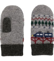 familiar intarsia knit wool-blend mittens - grey