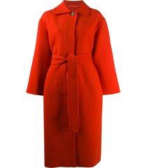jil sander belted long coat - orange