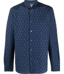 paul smith cotton watch print shirt - blue