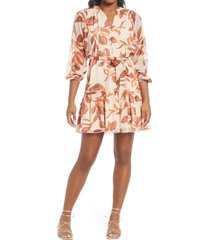 adelyn rae trina popover long sleeve chiffon dress, size small in cream cherry at nordstrom